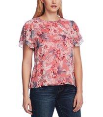 vince camuto women's split sleeve floral chiffon blouse