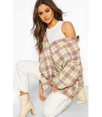 geruite extreem oversized blouse met zakken, bruin