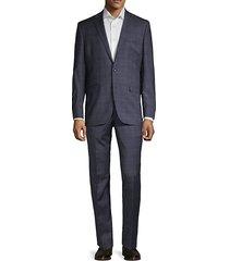 plaid regular-fit wool blend suit