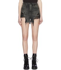'shredded slouch' denim shorts