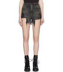'shredded slouch' denim shorts
