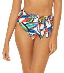 bleu by rod beattie printed draped-tie high-waist bikini bottoms women's swimsuit
