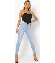 gebleekte skinny jeans met hoge taille, mid blue