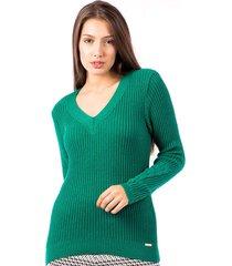 blusa tricot carlan basic canelada decote v
