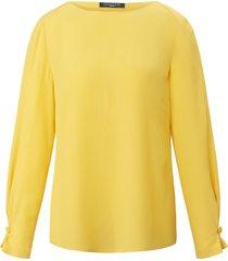 blouse van 100% zijde met lange mouwen van fadenmeister berlin geel