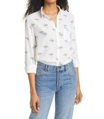 women's rails charli stripe linen blend blouse, size small - white