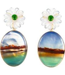 quartz and stripe agate flower earrings