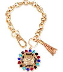 guess gold-tone multicolor crystal, logo charm & chain tassel link bracelet