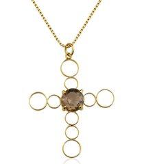 colar toque de joia crucifixo quartzo fumê amarelo