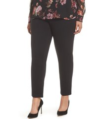 vince camuto high rise ankle skinny ponte pants, size 24w in rich black at nordstrom