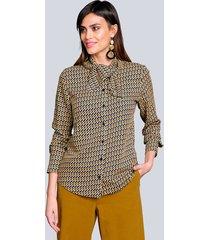 blouse alba moda mosterdgeel::offwhite::marine