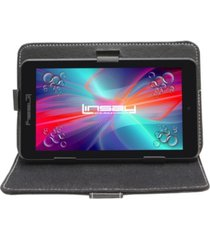 "7"" quad core 2gb ram 32gb android 10 dual camera tablet with black leather case"
