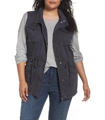 plus size women's caslon utility vest, size 3x - grey