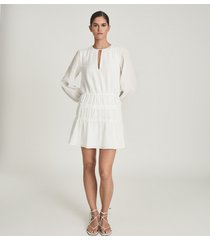 reiss cia - long sleeved smock dress in white, womens, size 14