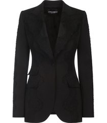 dolce & gabbana lace-overlay peak-lapel blazer - black