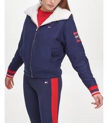 tommy hilfiger sport women's reversible faux sherpa cropped bomber jacket