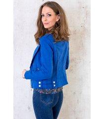 biker jacket suede kobaltblauw