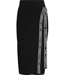 logo tape wrap knit skirt lång kjol svart karl lagerfeld