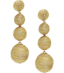 kenneth jay lane couture collection women's metallic thread-wrapped ball linear earrings