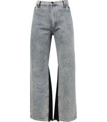 contrast panel jeans, light wash