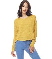 sweater chenille delgado mujer mostaza corona