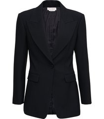 alexander mcqueen single breasted black wool blazer with back laces detail