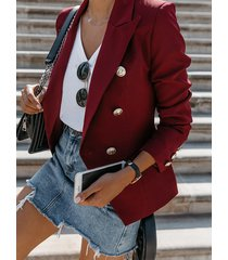blazer de manga larga con cuello de solapa y doble botonadura