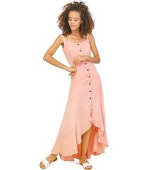 vestido de tiras con botonadura rosa 2341 unipunto