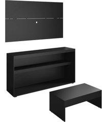 rack c/painel tv atã© 50 pol.mesa de apoio atualle multimã³veis preto acetinado texturizado ref. 2839 - incolor/preto - dafiti