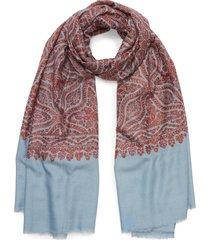 geometric botanical embroidered pashmina scarf