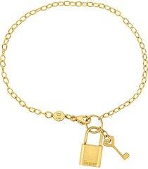 14k yellow gold lock and keychain bracelet