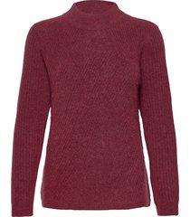 fqhill-pu-high-rib stickad tröja röd free/quent