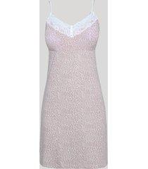 camisola feminina estampada animal print onça com renda e bojo alça fina rosa