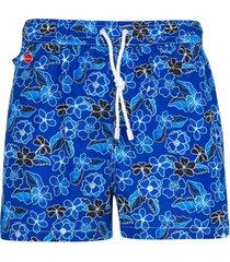 kiton short de banho com estampa floral - azul