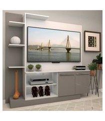 estante com painel p/tv até 55 polegadas e 2 portas porto multimóveis branco/lacca fumê