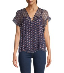 see by chloé women's printed silk top - blue multi - size 38 (6)