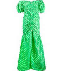 alessandra rich polka-dot silk gown - green