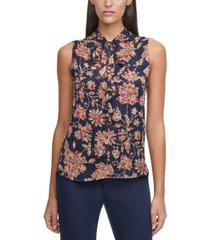 tommy hilfiger floral-print tie-neck blouse