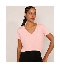 camiseta feminina básica cropped manga curta decote v rosa