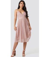 na-kd party thin strap dotted chiffon dress - pink