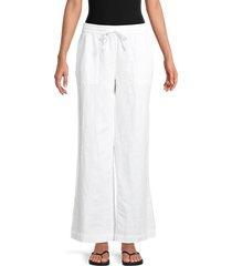 saks fifth avenue women's linen wide-leg pants - chambray - size m