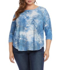 plus size women's karen kane tie dye burnout shirttail top
