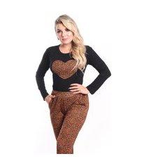 pijama longo manga longa calça xadrez verami feminino inverno animal print onça leopardo