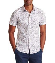 men's bonobos tech floral short sleeve stretch button-up performance shirt, size small - purple