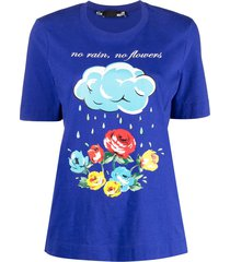 love moschino no rain no flowers-print t-shirt - blue
