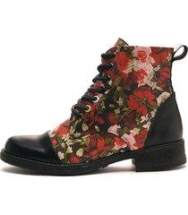 botin sinderela dama negro por folia flores rojo