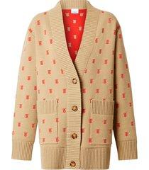 burberry monogram wool cashmere blend oversized cardigan - neutrals