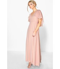 chiffon cape sleeve maxi bridesmaid dress, blush