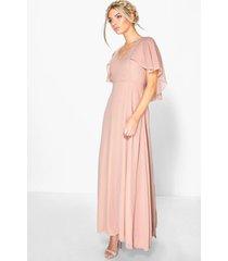 chiffon cape sleeve maxi bridesmaid dress, blush