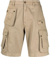 belstaff multi-pocket cotton cargo shorts - neutrals